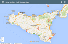 Sicily - Map of the UNESCO World Heritage Sites